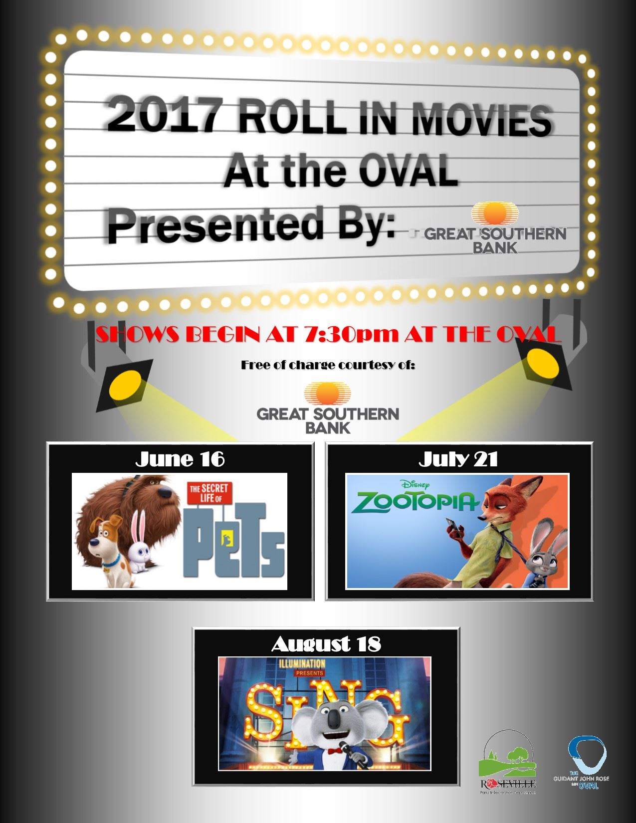 Roll in Movie Schedule, 2017