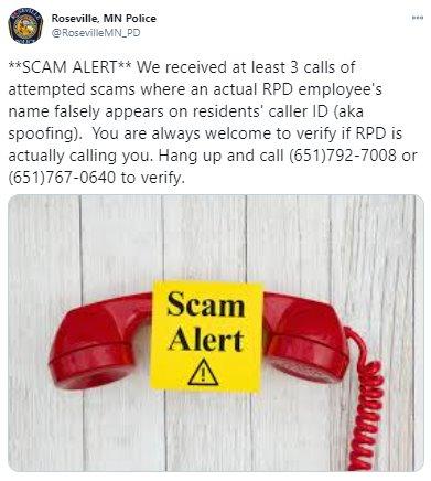 RPD Tweet about Scam Prevention