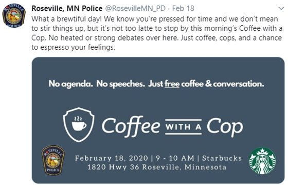Coffee with a Cop Twitter Post