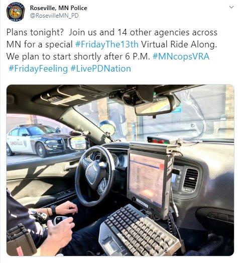 Roseville PD Virtual Ride Along (Twitter)