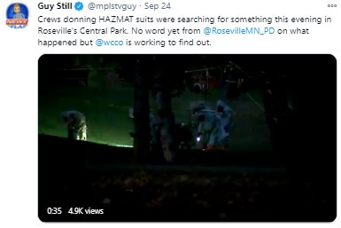 Tweet that tagged/mentioned RPD to HazMat activity at Central Park