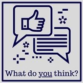 """Image stating """"What do you think?"""" with though bubble icon."""