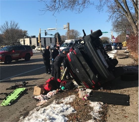 Car flipped on its side