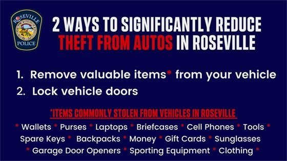 2 Ways to Significantly Reduce Theft From Autos - 1. Remove valuable items 2. Lock vehicle doors.