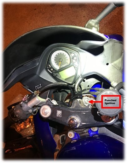 Punched Ignition on Stolen Motorcycle