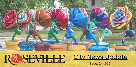 City News Update, Roses in Bloom sculptures on a trailer.