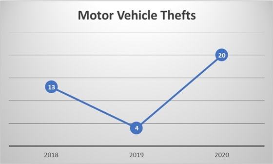 Motor Vehicle Thefts (13 in 2018, 4 in 2019, 20 in 2020).
