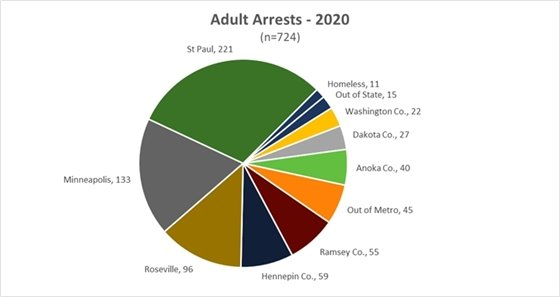 Pie Chart of Adult Arrests in 2020 by address of arrested party.