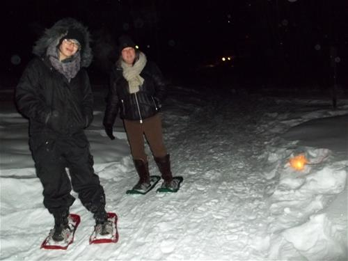 Candlelight snowshoeing
